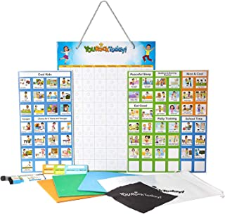 Magnetic Chore Charts for One or Multiple Kids, Toddlers, Teens for Magnetic FRIDGES & Wall, Dry Erase Rigid Board, 70 Chore, Reward, Responsibility, Behavior Chart, 240 Star Magnets, 4 Markers