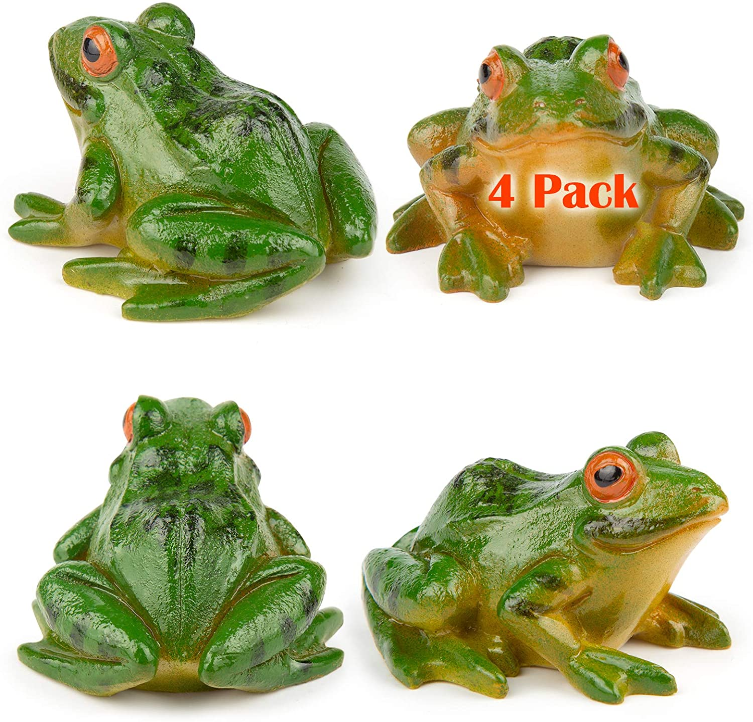 IKAYAS 4 Pcs Cute Miniature Frog Statue Outdoor Garden Frog Statue Frog Figurines Frog Accessories Animal Sculpture Simulated Frogs for Garden Yard Decorations