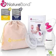 NatureBond Silicone Manual Breast Pump Breastfeeding Milk Saver Suction   Bonus Pump Stopper, Lid, Pouch, AirTight Vacuum Sealed in Hardcover Gift Box. BPA Free & 100% Food Grade Silicone