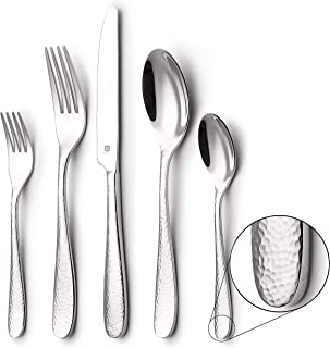 DANIALLI 20-Piece Flatware Set For 4, Modern Hammered Design Silverware Set, 18 10 Stainless Steel Utensils, Include Knife/Fork/Spoon, Mirror Polished Set of Cutlery, Dishwasher Safe