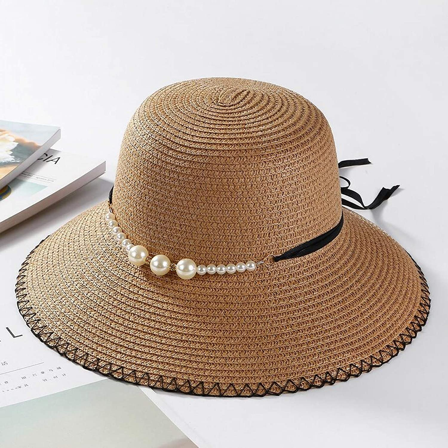 Lianaic Sun hat Summer Flat Brim Straw Beading New Orleans Mall Pearl Fedoras Outlet sale feature Wom