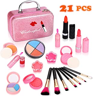 Biulotter 21pcs Kids Makeup Kit for Girls Real Kids Cosmetics Make Up Set with Cute Cosmetic Bag, Eyeshadow/Lip Gloss/Blush, Washable Play Makeup for Little Girls Xmas Birthday
