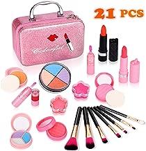 Biulotter 21pcs Kids Makeup Kit for Girls Real Kids Cosmetics Make Up Set with Cute Cosmetic Bag, Eyeshadow/Lip Gloss/Blush, Washable Play Makeup for Little Girls Xmas Birthday