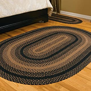 IHF Home Decor Braided Area Rug Ebony Design | Oval Area Carpet | Jute Natural Fiber Living Room Bedroom Porch Durable Floor Mat - 6' x 9'