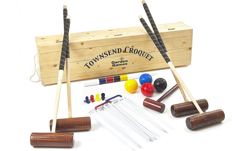 Garden Games Townsend Krocket Set–4Player Volle Gre Erwachsene-Set in Einer Kiefer Holz-Aufbewahrungsbox