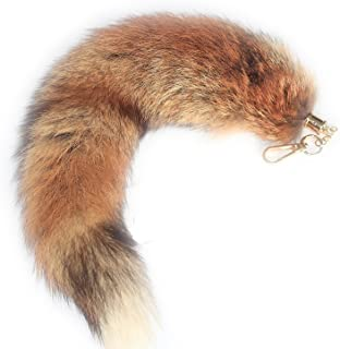 38cm Authentic Red Fire Fox Tail Fur Handbag Accessories Key Chain Ring Hook Tassels Natural Color Cosplay Toy