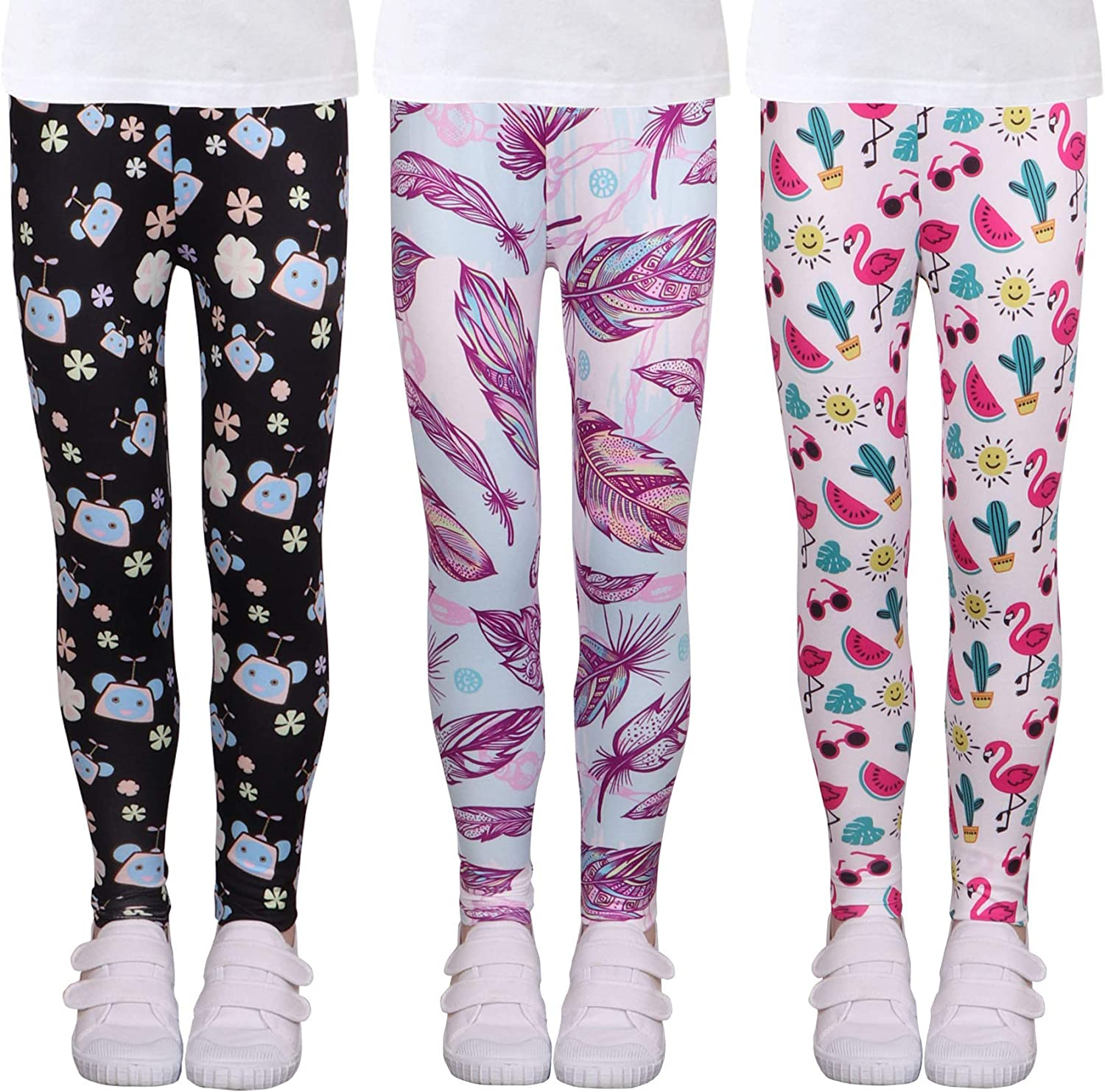 LUOUSE Multipack Cute Printed Girls quality assurance 1 year warranty Stretch Lengt Ankle Leggings