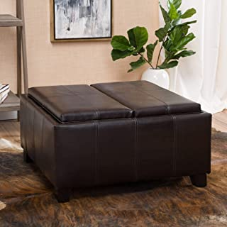 Christopher Knight Home Living Justin Brown Leather Tray Top Storage Ottoman