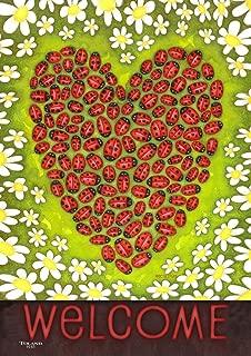 Toland Home Garden Ladybug Heart 28 x 40 Inch Decorative Spring Summer Bug Daisy Flower Welcome Double Sided House Flag