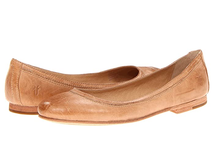 Frye  Carson Ballet (Beige Antique Soft Vintage Full Grain) Womens Flat Shoes