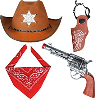 Adulto Wild West Marrone Cappello da cowboy con Distintivo Sceriffo Costume Accessorio