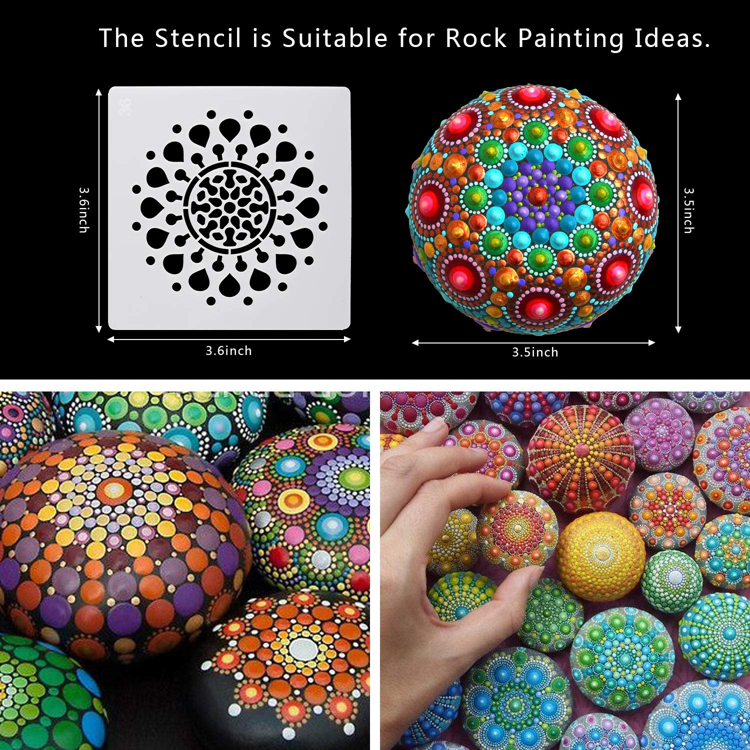 Home Painting 3.5 x 3.5 inch Whaline 56 Patterns Mandala Dot Painting Templates Floral Stencils Template Tools Set for Art Project Walls Art Furniture Floor Tiles Decor and Stone Rock