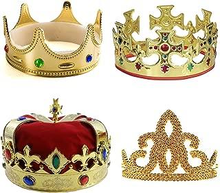 Kings Crown - 4 Pack - Royal King Crowns and Princess Tiara - Costume Accessories