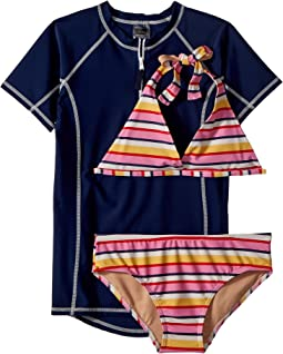 Toobydoo Sunshine Stripe Bikini & Rashguard Set (Infant/Toddler/Little Kids/Big Kids)