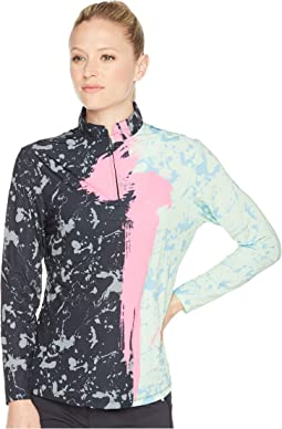 Sunsense® Lightweight Brushstroke Print 1/4 Zip Long Sleeve Top with 50 SPF