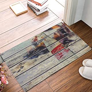 MUSEDAY Creative Design 20 x 31.5 Inch Decorative Floor Mat Coke Bottle on Beach Wood Grain Doormat Entrance Door Mat Indoor Rugs
