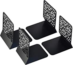 Lafbo Luxurious Metal Black Bookends – Floral Pattern Engraved Book Stands – Lightweight & Durable Book Holders – Non-Slip Book Ends – Measures 6.7 x 5.2 x 6.3 inches - 2 Sets of 2 Book Supports(4)