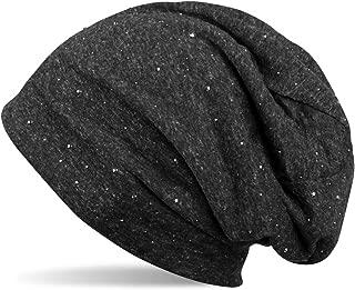 M 66 Beanie XXL Long Mütze Beaniemütze Schwarz Glitzer Streifen Damen UNISEX