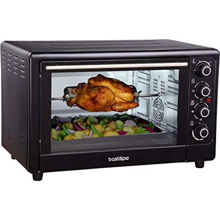 Bastilipo Milan Black - Horno de cocina - electrico - sobremesa - convección multifunción de 50 litros - 2000W - Color negro