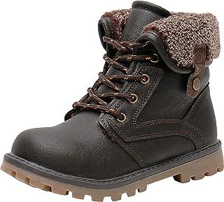 حذاء برقبة طويلة شتوية للأطفال بسحاب جانبي، حذاء كاحل معزول دافئ للأولاد (للأطفال الصغار/الأطفال الصغار)