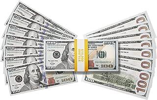 RUVINCE Play Money for Kids Prop Money 100 Dollar Bills 100X100 Pcs Size : 6.14x2.59 in Prop Money Magician Porp,Movie Props