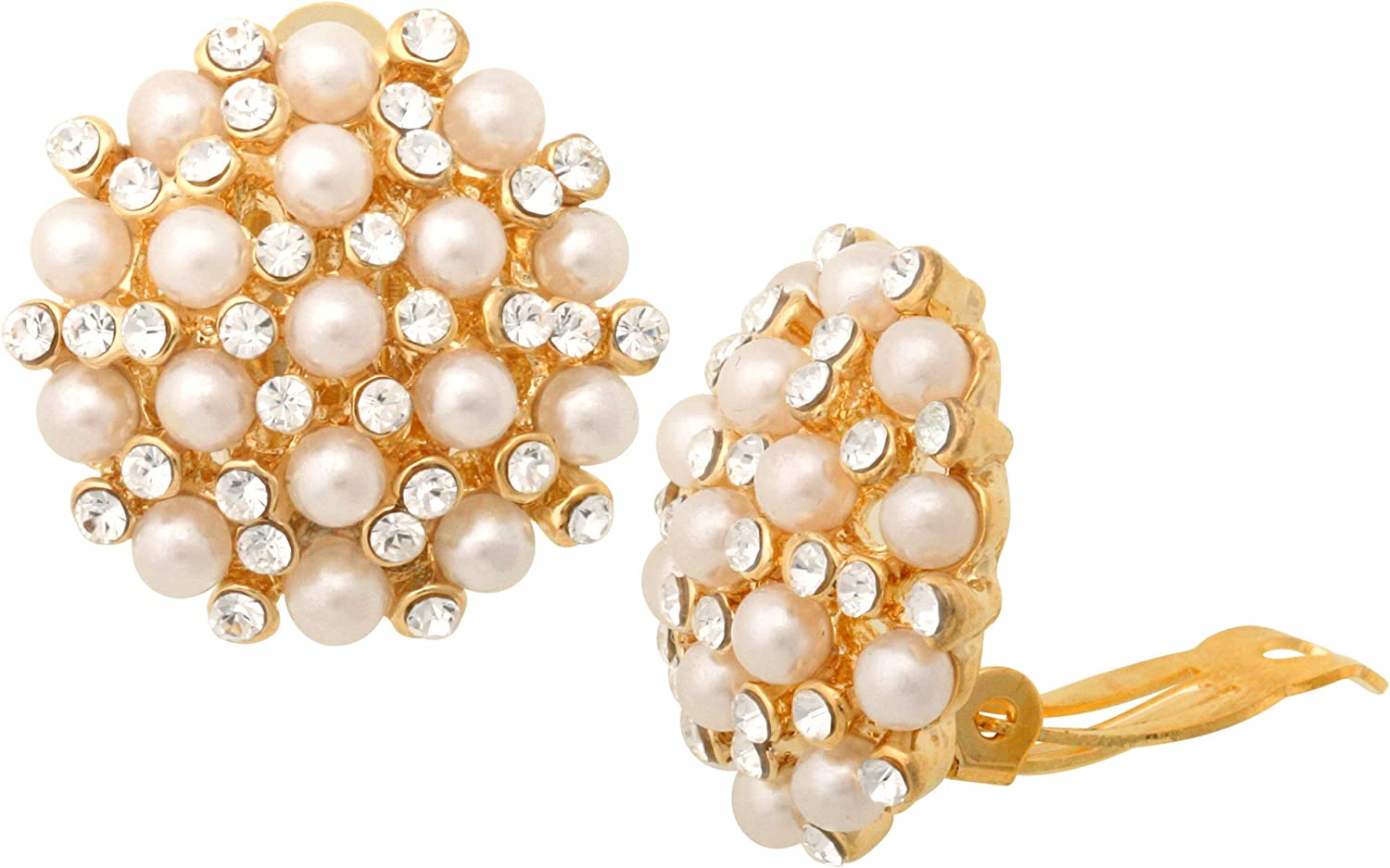 JanKuo Jewelry Gold Plated Vintage Style Simulated Pearls with Crystal Stones Clip On Earrings