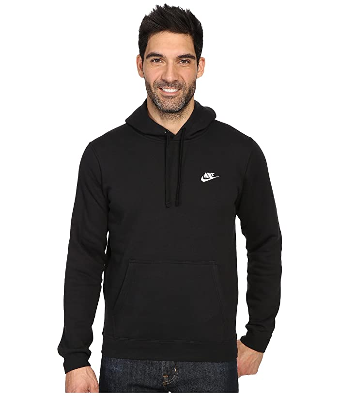 Nike Club Fleece Pullover Hoodie (Black/Black/White) Men