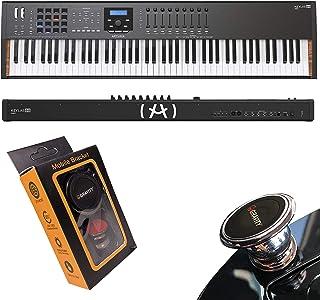 Arturia Keylab MKII Edition 88-Key Fatar Hammer Action MIDI Keyboard Controller Keylab88 with Gravity Magnet Phone Holder Bundle, Black Version