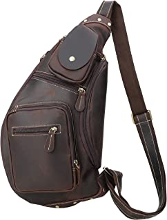 Polare Cool Real Leather Cross Body Sling Bag Chest Bag Backpack Large with YKK Zippers