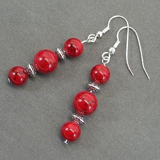 Orecchini pendenti Thurcolas in perline turchese rossi e perline tibetane