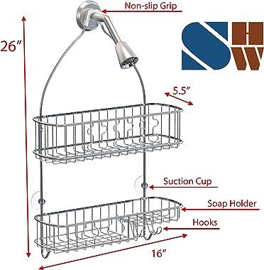 SimpleHouseware Bathroom Hanging Shower Head Caddy Organizer, Chrome (26 x 16 x 5.5 inches)