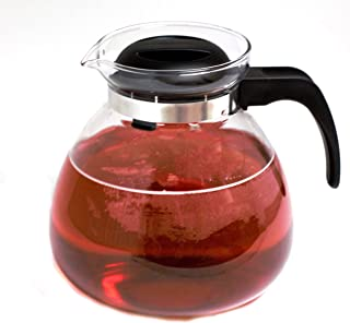 Simax Glassware 2.5 Quart Glass Teapot | Short Spout, Stay Cool Plastic Handle and Lid, Stovetop and Dishwasher Safe, Heat, Cold, and Thermal Shock Resistant Borosilicate Glass