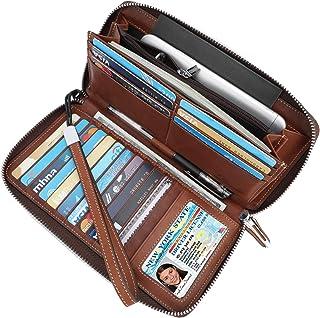 Lavemi Women's RFID Blocking Real Leather Zip Around Wallet Clutch Large Travel Purse Wristlet