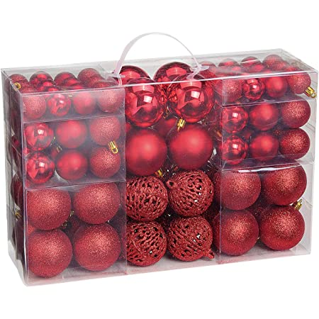 Set Christbaumkugeln Weihnachtskugeln Baumschmuck Kunststoff Rot B-Ware 70tlg