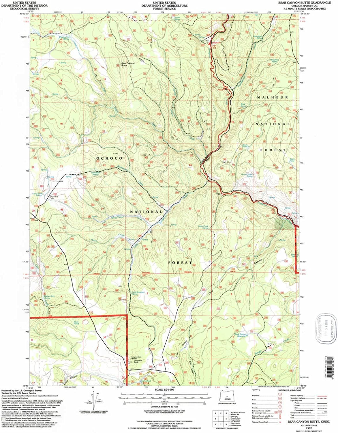 Bear Canyon Butte OR topo map, 1 24000 Scale, 7.5 X 7.5 Minute, Historical, 1992, Updated 1997, 26.8 x 21.9 in