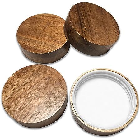 Kitchen Charisma Wooden Mason Jar Lids - 4 Mason Jar Lids Wide Mouth (Acacia Wood) - Custom Molded Screw Top Mason Jar Lid Set Storage Lids for Ball Jars Only
