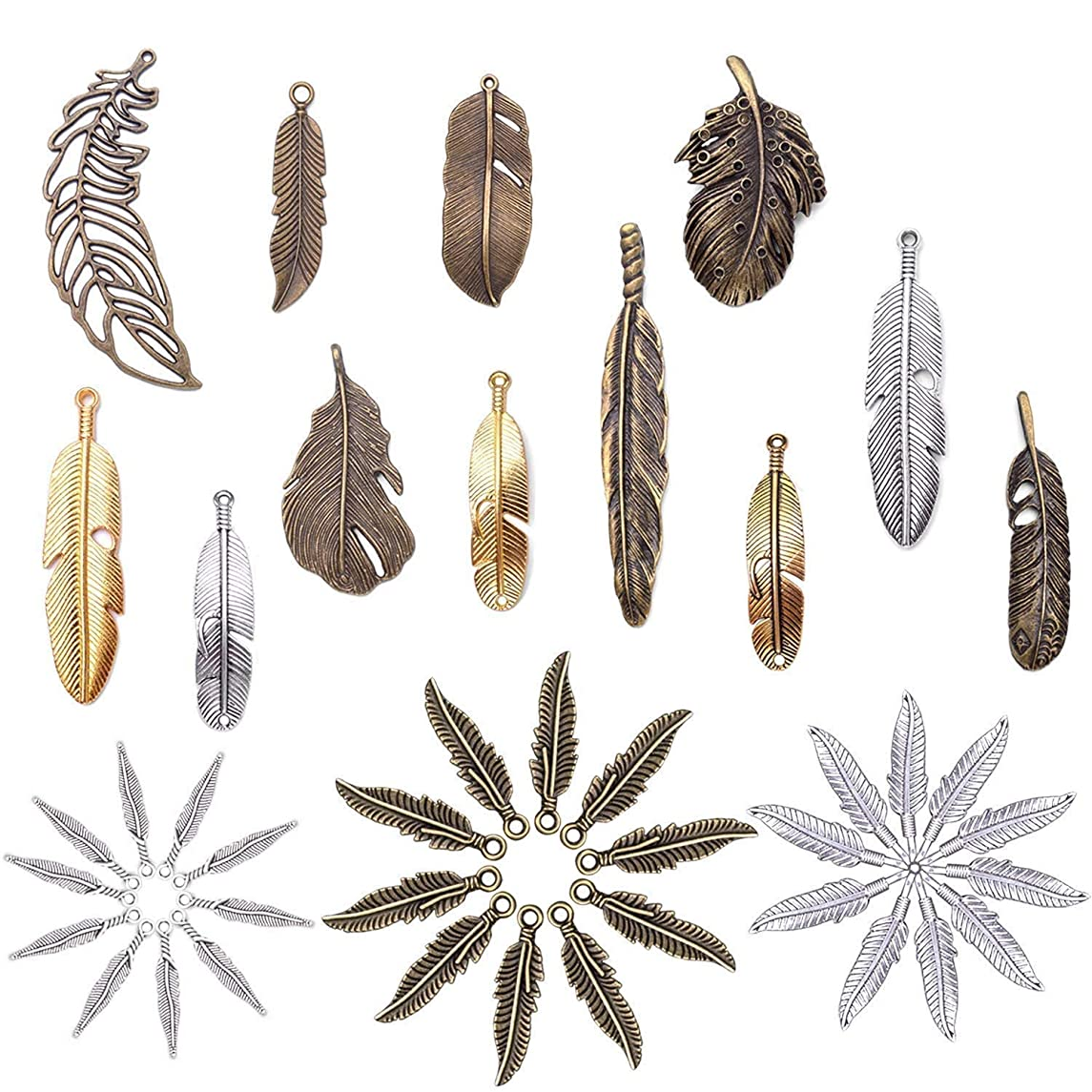 42 Pcs Mixed Feather Charms Pendants for Neacklaces Braceletes DIY Jewellery Making