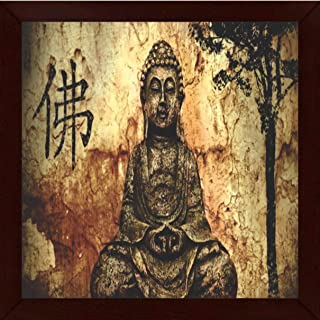 Go Hooked Multicolour Wood Beautifully Printed Buddha Wall Art Painting