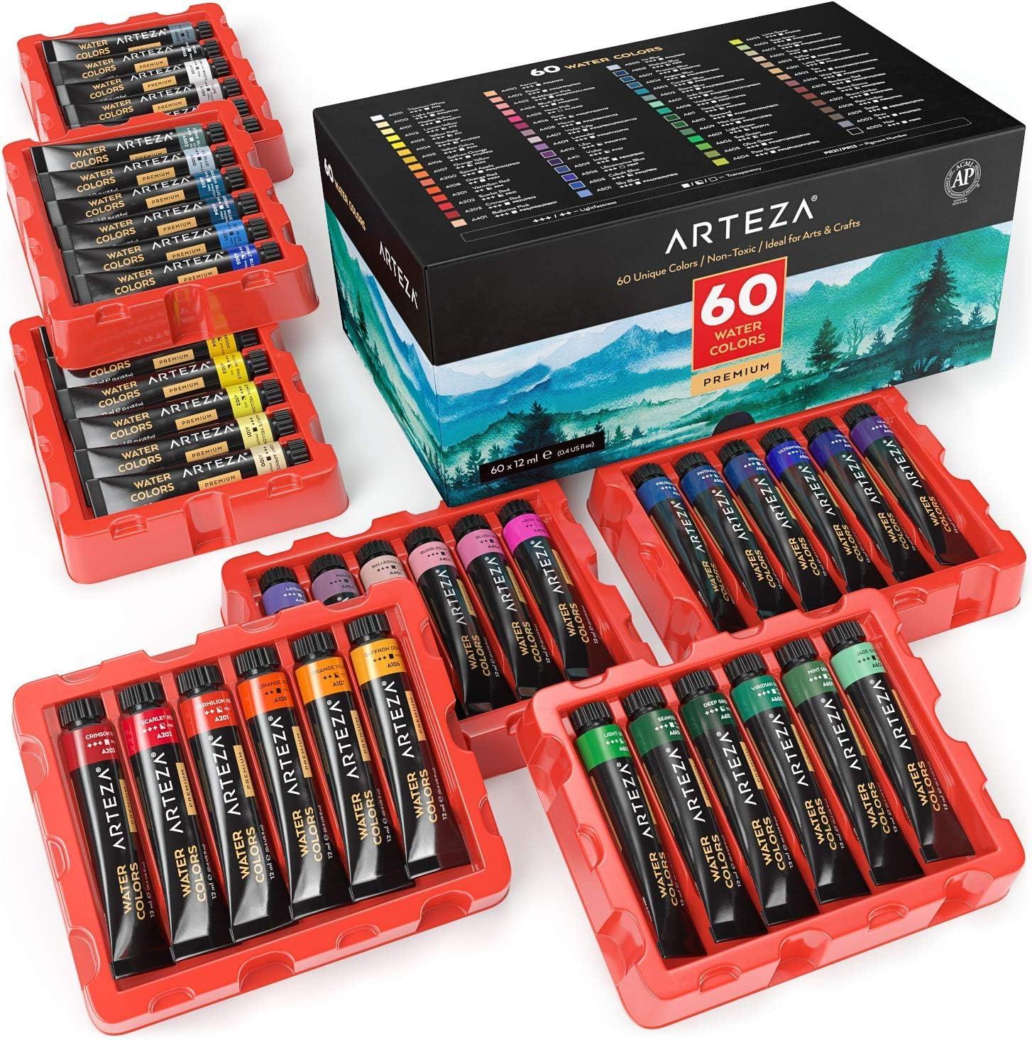Arteza Pinturas de acuarela de calidad | Set de 60 colores | Tubos de 12 ml | Acuarelas de colores para artistas, estudiantes y principiantes