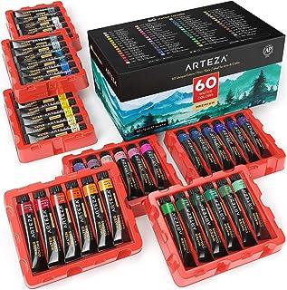 رنگ آبرنگ ARTEZA، مجموعه ای از 60 رنگ / لوله (12 میلی لیتر / 0.4 US fl oz) با جعبه ذخیره سازی، رنگدانه های غنی، رنگ های رنگی و غیر سمی برای هنرمند، هنرمندان سرگرمی، ایده آل برای تکنیک های آبرنگ