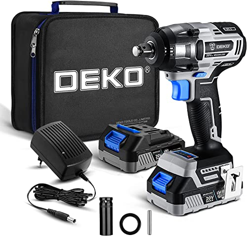 wholesale DEKOPRO Cordless Impact Wrench,20V new arrival Power Impact Wrenches, 1/2 Impact Wrench Chuck with 3200RPM, sale Variable Speed, Max Torque 258 ft-lbs (350N.m), 2.0A Li-ion Battery, 1 Hour Fast Charger and Tool Bag sale