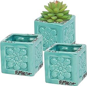 MyGift Lot de 3Style rustique Turquoise Motif floral en céramique Plante Pots/Mini herbes aromatiques et pots de cactus