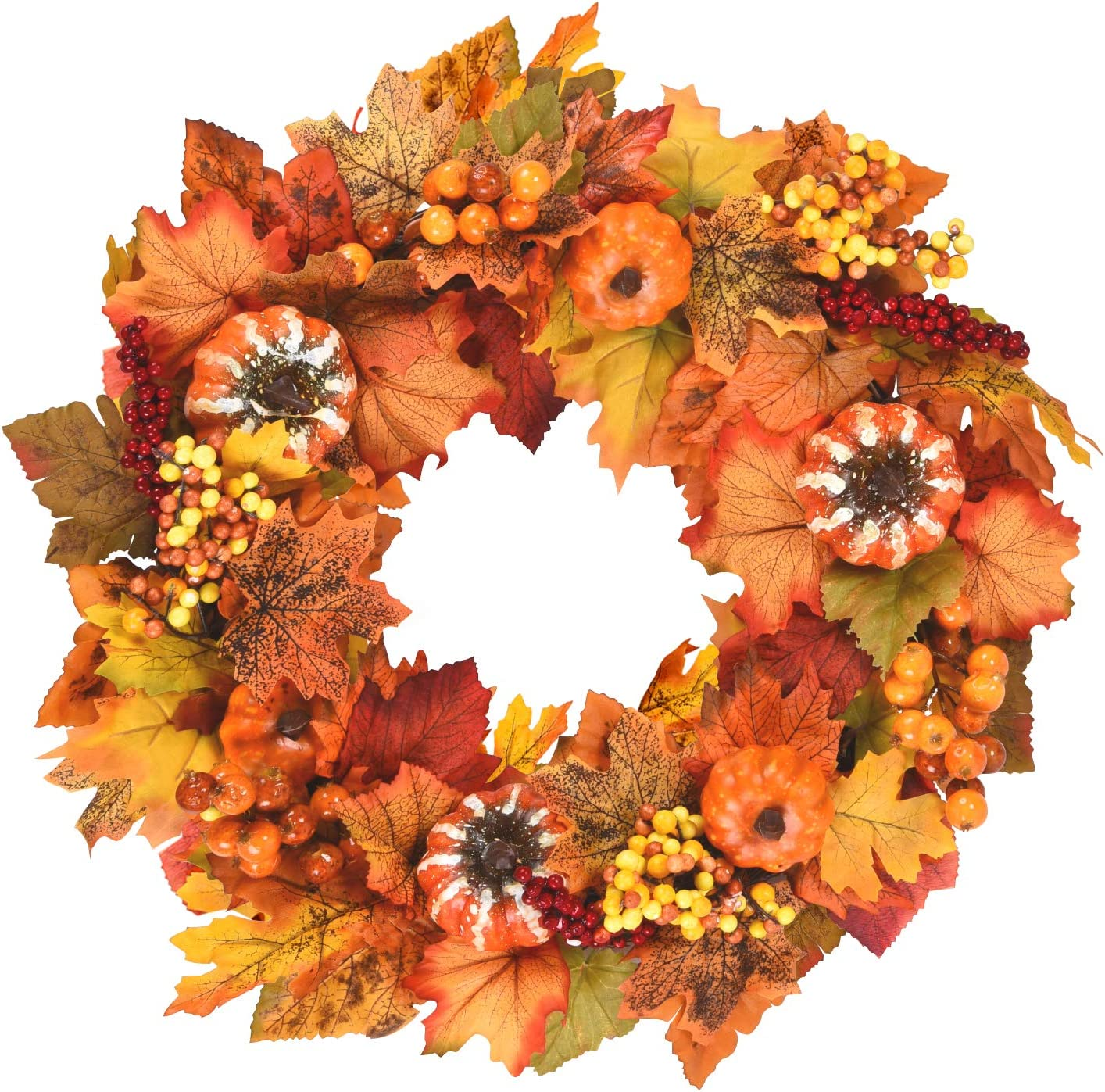 Sunm Boutique Fall Wreath with A Leaves 1 year warranty Pumpkins Special price Berries Maple