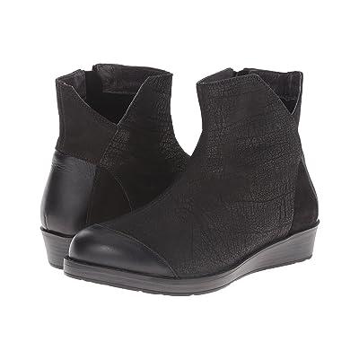 Naot Loyal (Black Crackle Leather/Shiny Black Leather) Women