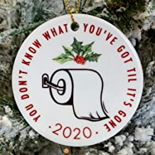 2020 Quarantine Christmas Ornament in Ceramic, Toilet Paper Shortage Pandemic Keepsake, Holiday Tree Ornament Decoration, Great Gift or Stocking Stuffer | 3