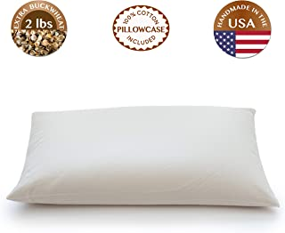 "ComfyComfy Buckwheat Hull Pillow, Queen Size (20"" x 30""), with Extra 2 lbs of Buckwheat Hulls, Breathable for Cool Sleep, USA Grown Buckwheat and Durable Cotton Twill, with Custom Pillowcase"