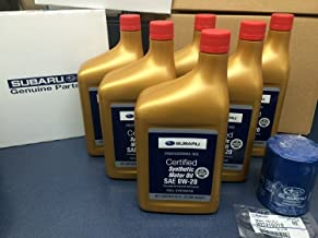 Genuine SUBARU Oil Change Kit Filter Gasket & 6 Qts Synthetic Motor Oil SAE 0W-20 2011-2018
