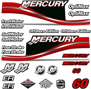 AMR Racing Outboard Engine Motor Sticker Decal Graphics kit for Mercury 60 - Red