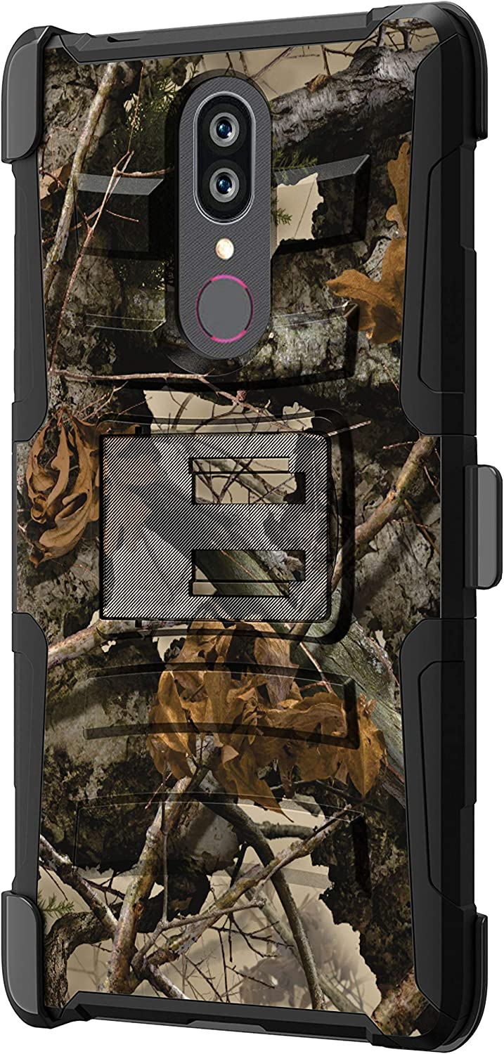TurtleArmor   Compatible with Coolpad Alchemy Case   Coolpad Legacy Case [Hyper Shock] Hybrid Dual Layer Armor Holster Belt Clip Case Kickstand - Tree Leaves Camouflage
