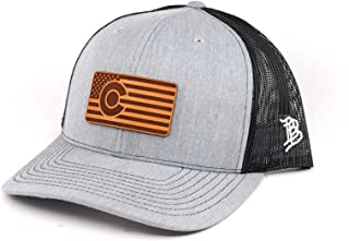 Rifle Flag Leather Patch Hat Heather GreyBlack Mesh